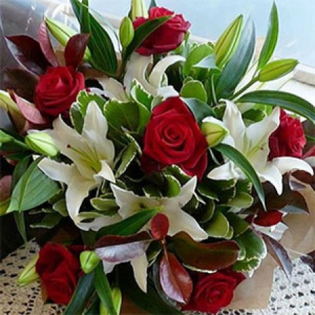 Red Roses and Lillies